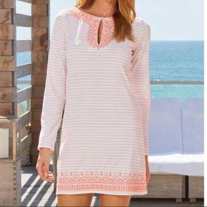 Cabana Life coral ticking stripe embroidered beach dress UPF 50+ sun protection